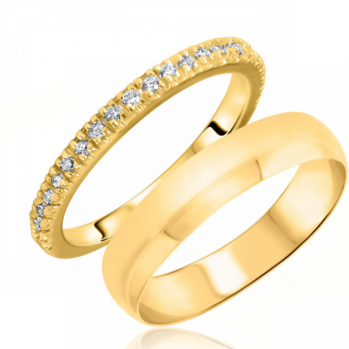 1/4 Carat T.W. Round Cut Diamond His and Hers Wedding Band Set 10K Yellow Gold