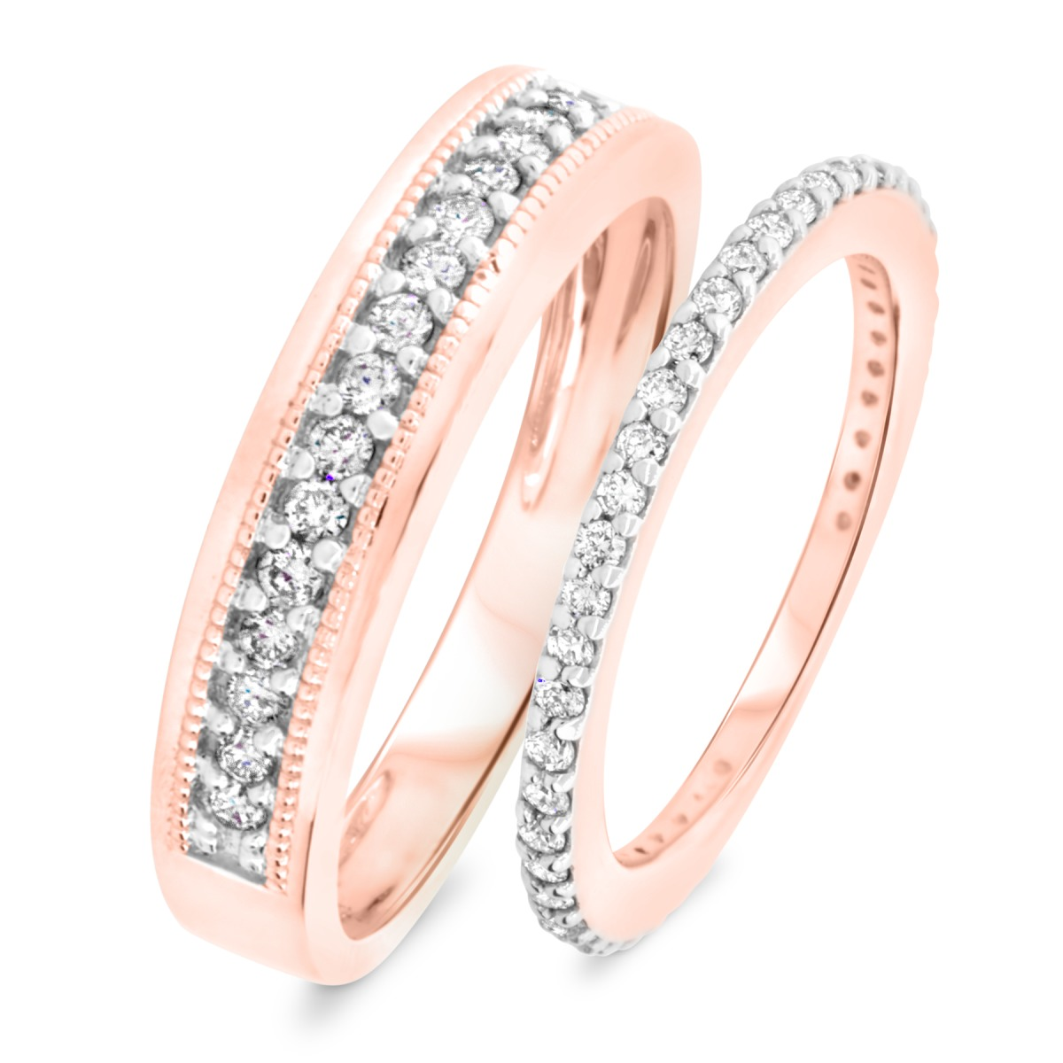 2/3 Carat T.W. Round Cut Diamond His and Hers Wedding Band Set 14K Rose Gold