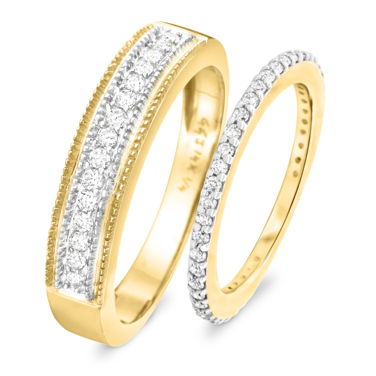 2/3 Carat T.W. Round Cut Diamond His and Hers Wedding Band Set 10K Yellow Gold