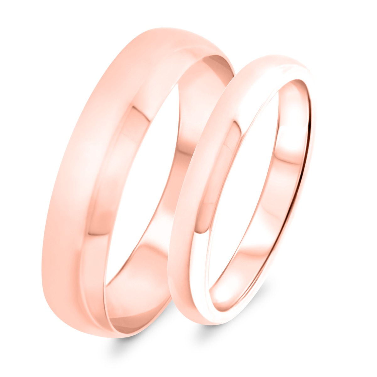 Wedding Band Set 10K Rose Gold