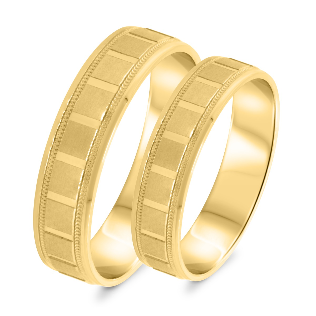 Matching Wedding Band Set 10K Yellow Gold
