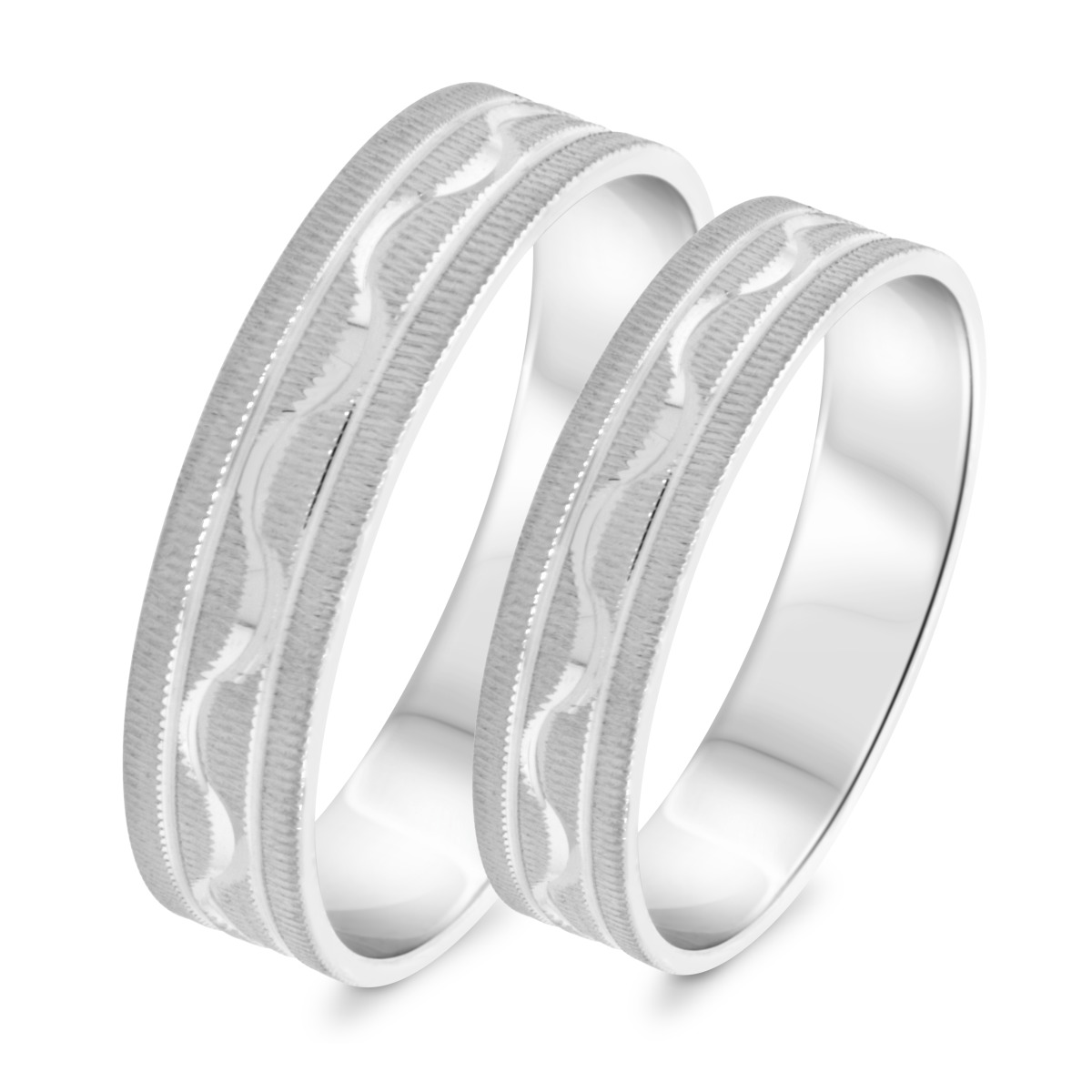 Matching Wedding Band Set 14K White Gold