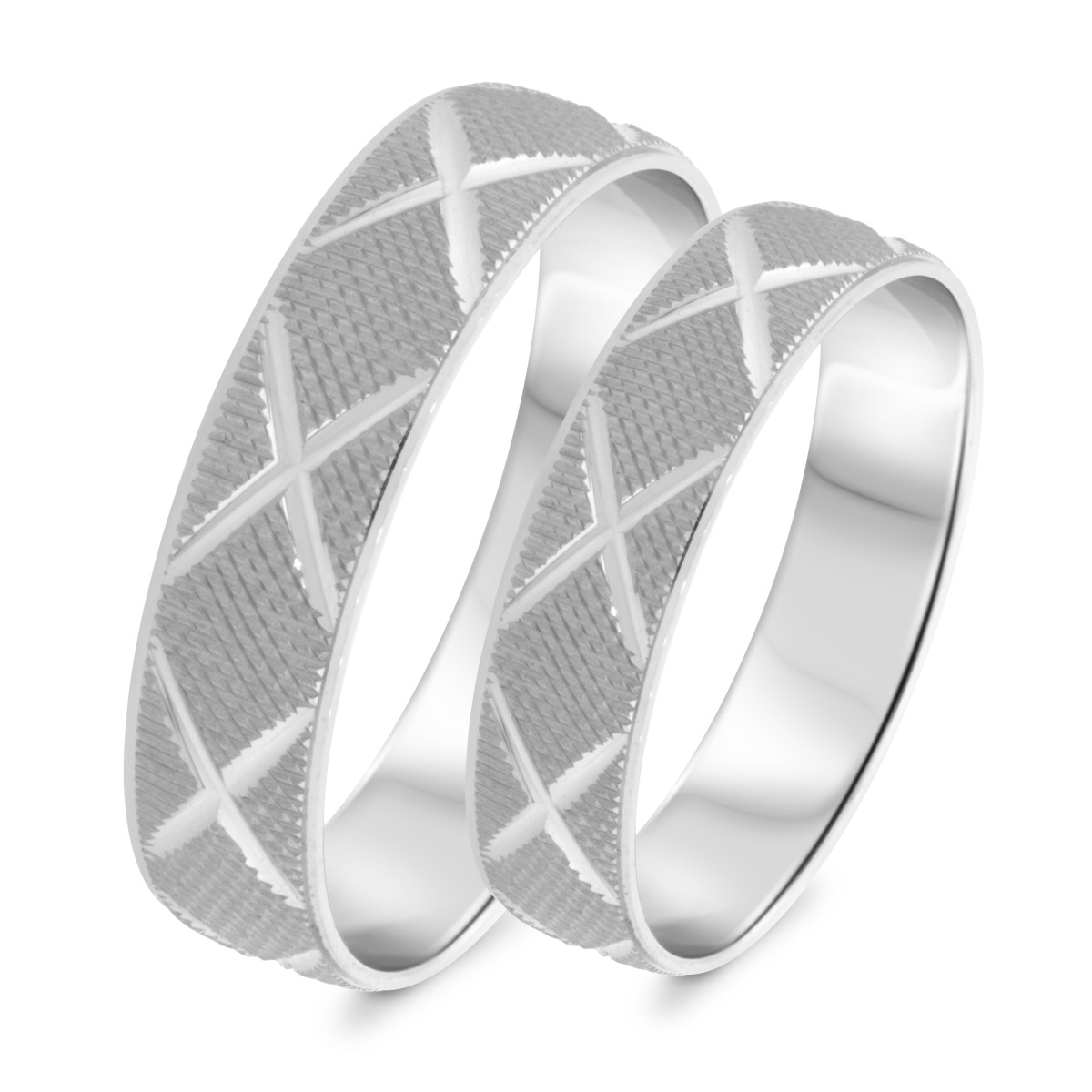 Matching Wedding Band Set 10K White Gold