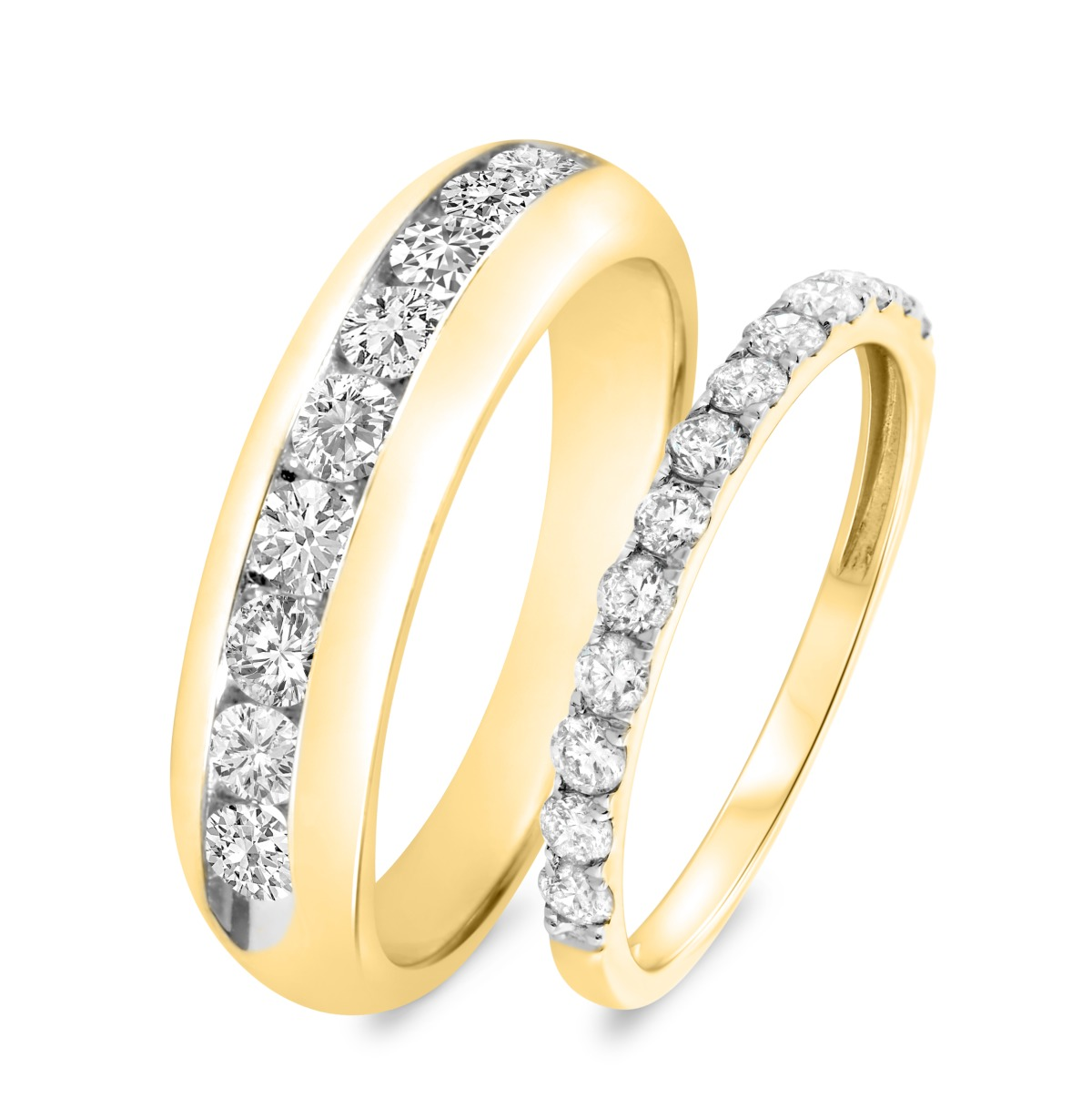 1 1/2 CT. T.W. Diamond Matching Wedding Band Set 14K Yellow Gold