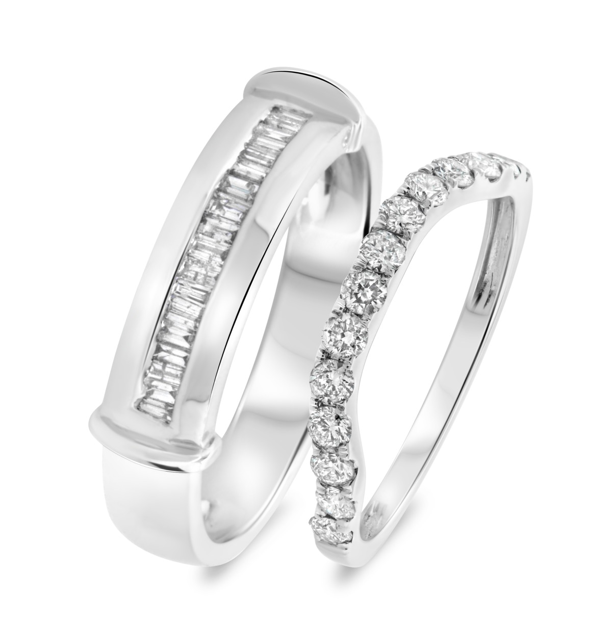 3/4 Carat T.W. Diamond Matching Wedding Band Set 10K White Gold