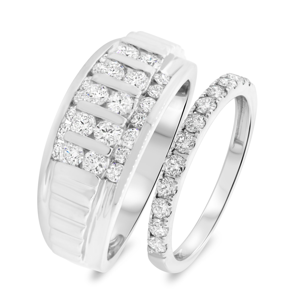 1 1/2 CT. T.W. Diamond Matching Wedding Band Set 14K White Gold