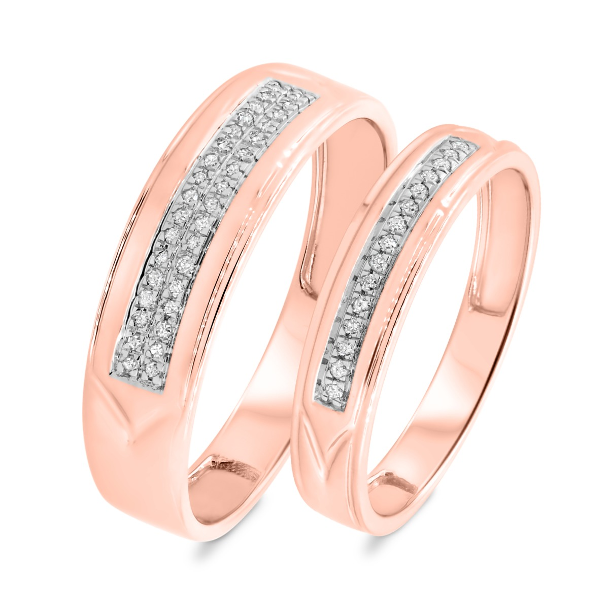 1/8 CT. T.W. Diamond Matching Wedding Band Set 10K Rose Gold