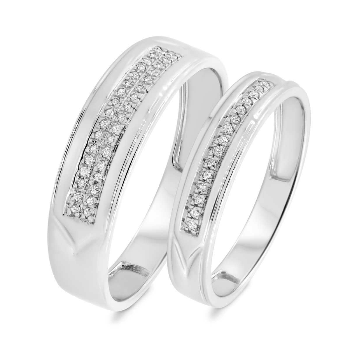 1/8 CT. T.W. Diamond Matching Wedding Band Set 10K White Gold