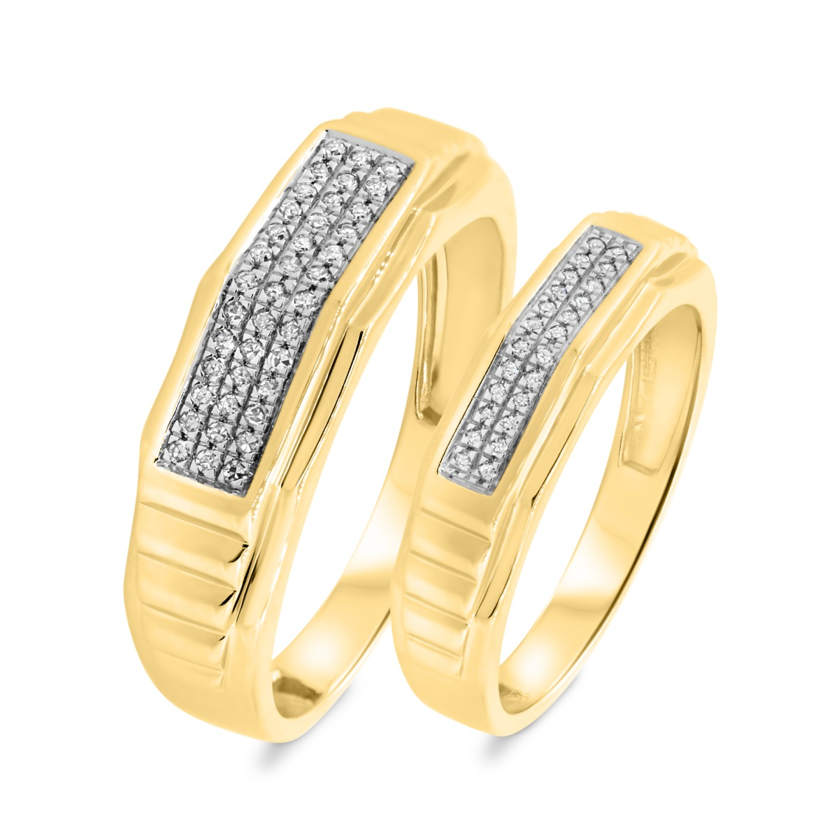 1/5 Carat T.W. Diamond Matching Wedding Band Set 10K Yellow Gold