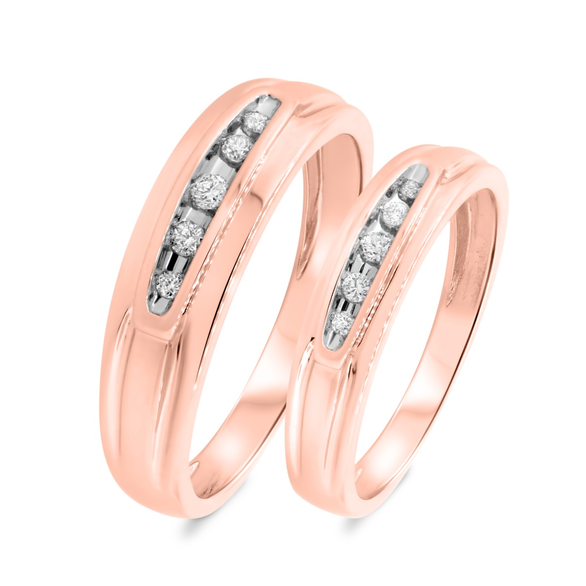 1/5 CT. T.W. Diamond Matching Wedding Band Set 10K Rose Gold