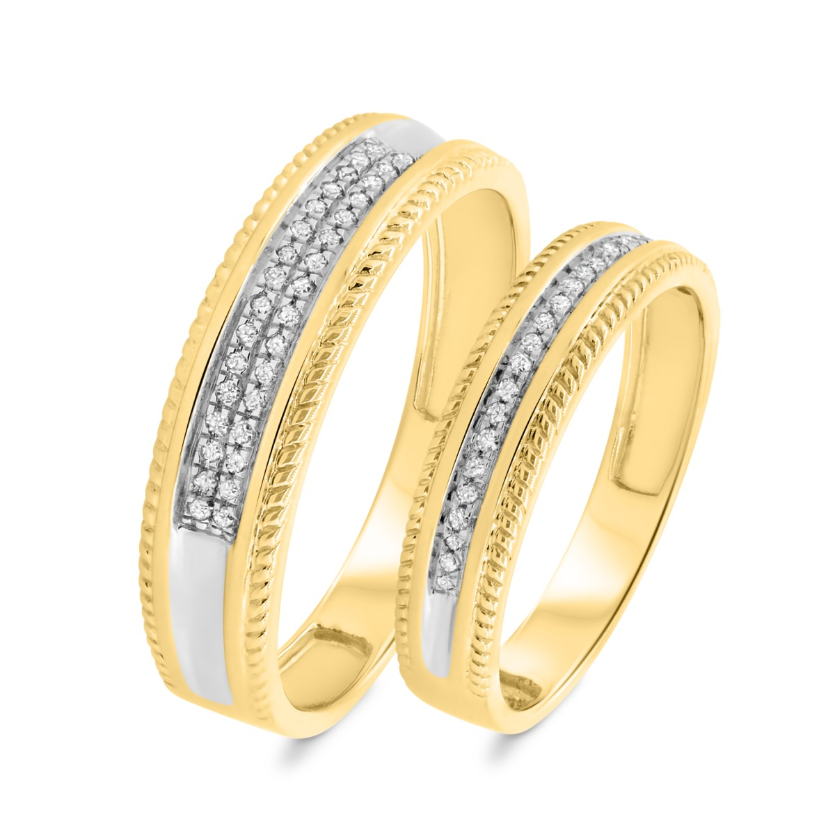 1/6 CT. T.W. Diamond Matching Wedding Band Set 10K Yellow Gold