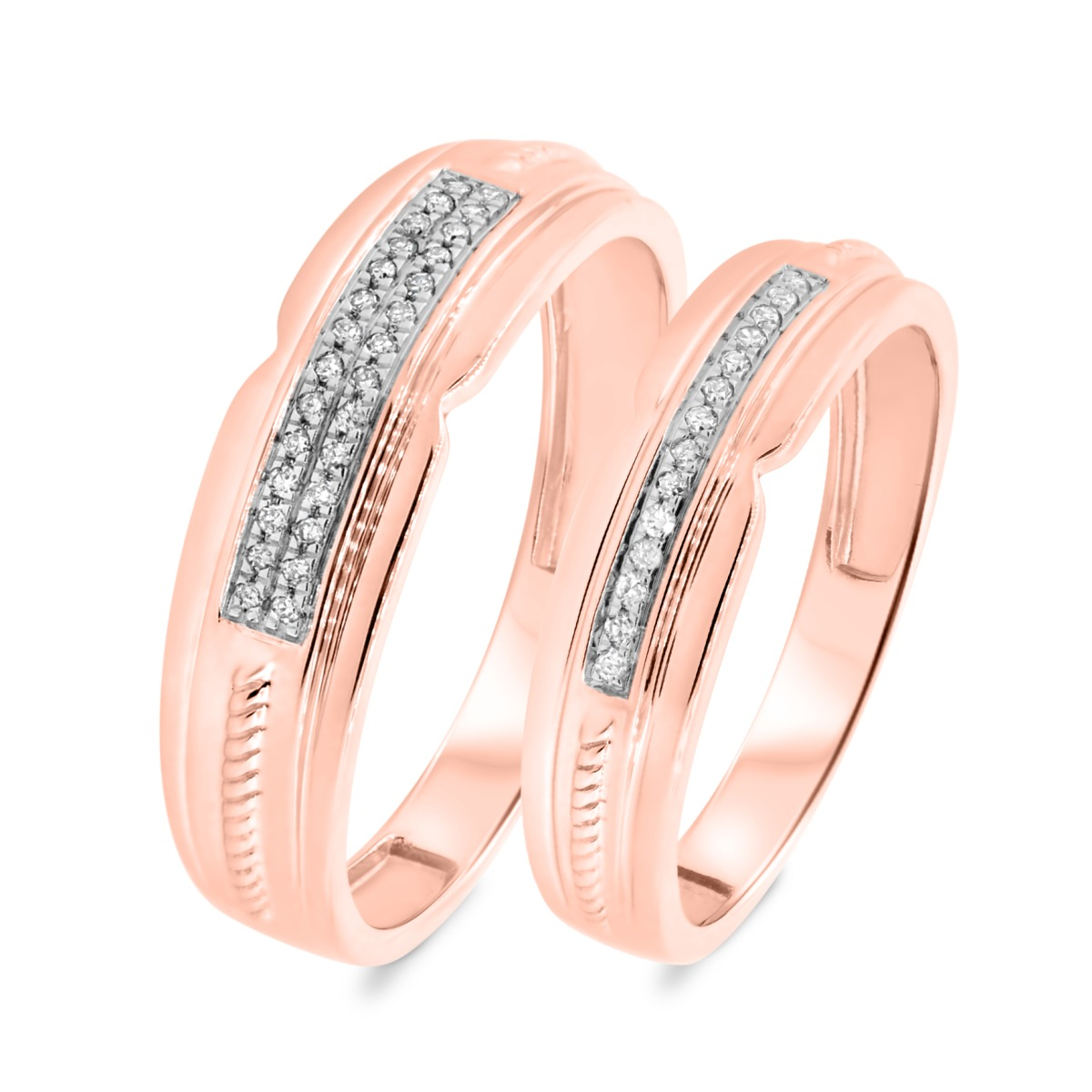 1/8 Carat T.W. Diamond Matching Wedding Band Set 10K Rose Gold