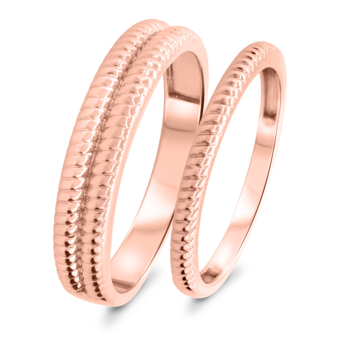Matching Wedding Band Set 14K Rose Gold