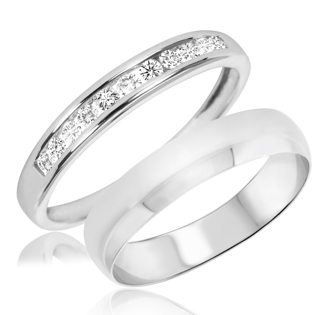 1/5 Carat T.W. Round Cut Diamond His and Hers Wedding Band Set 10K White Gold