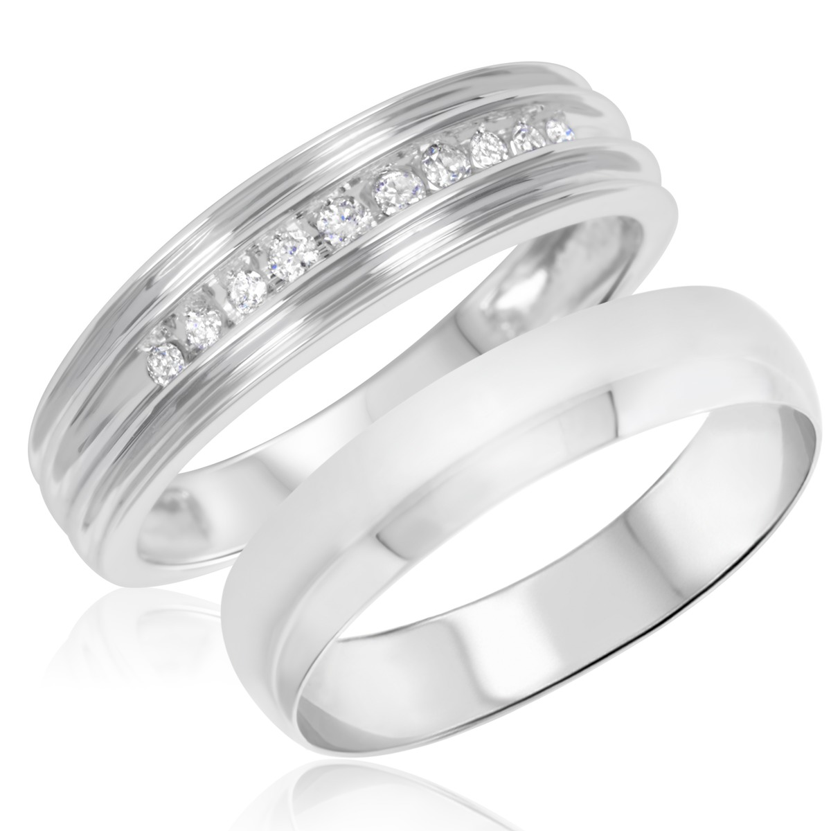 1/10 Carat T.W. Round Cut Diamond His and Hers Wedding Band Set 10K White Gold