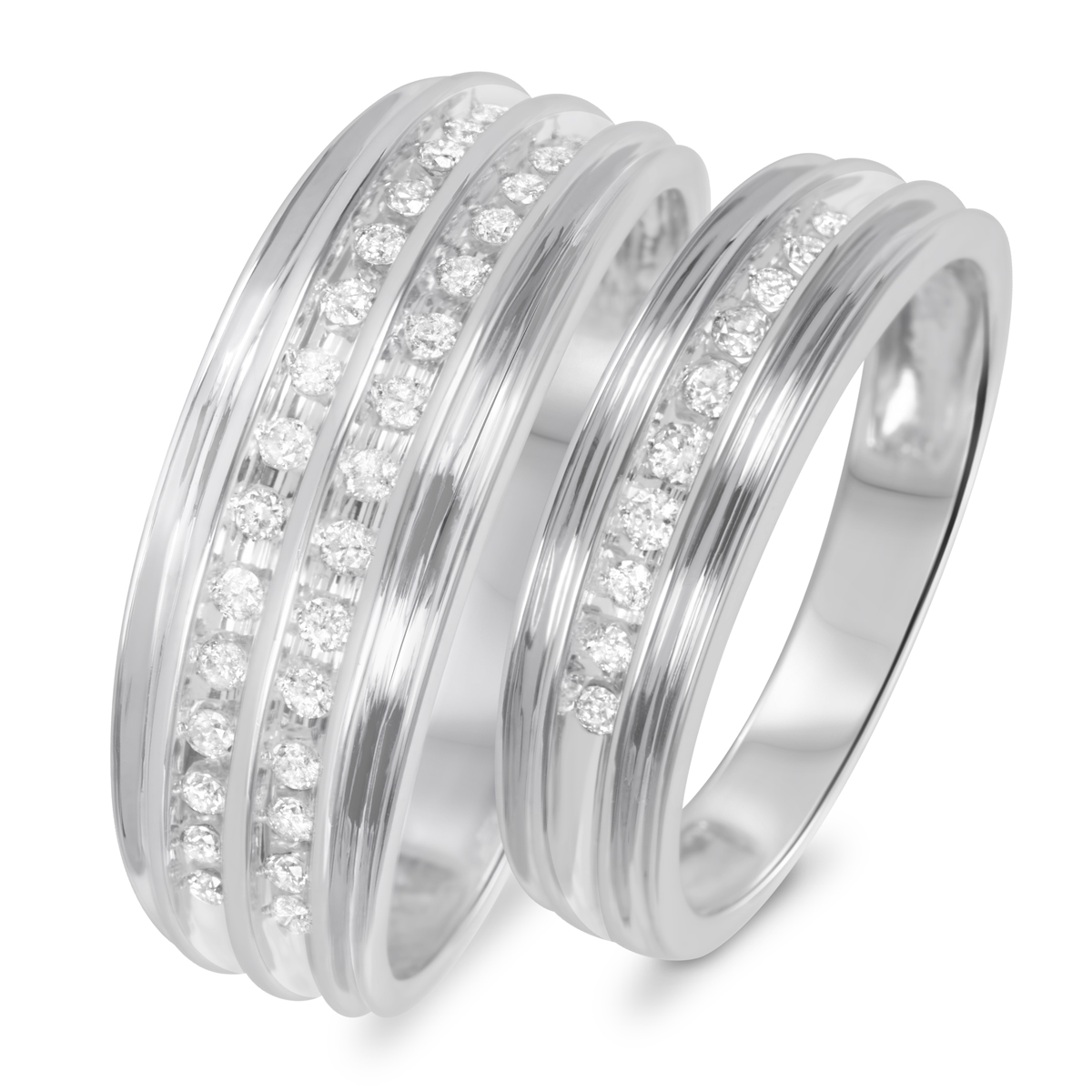 3/8 Carat T.W. Diamond His And Hers Wedding Rings 10K White Gold