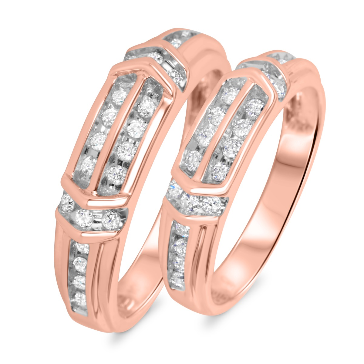 1/2 CT. T.W. Diamond His And Hers Wedding Band Set 10K Rose Gold