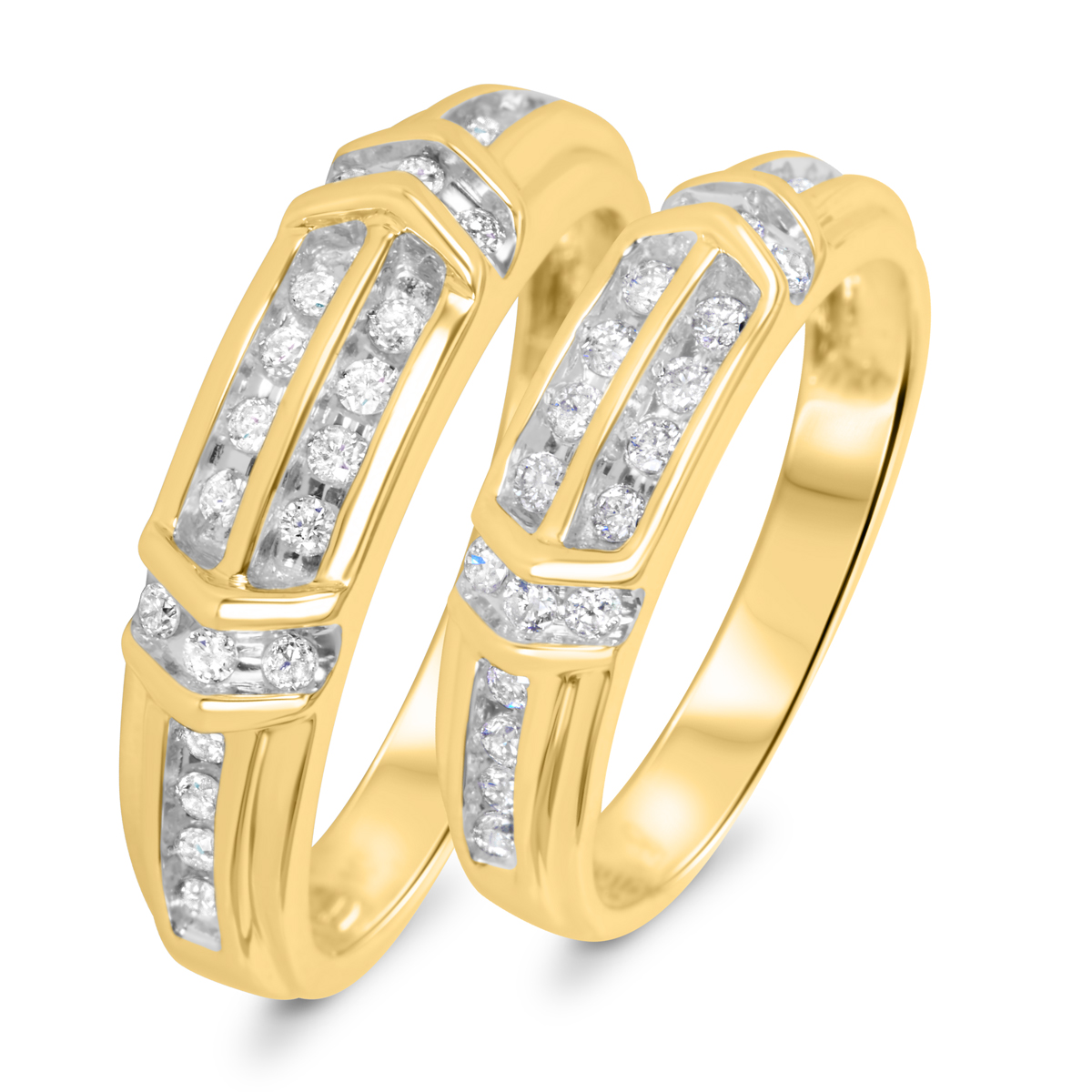 1/2 CT. T.W. Diamond His And Hers Wedding Band Set 14K Yellow Gold