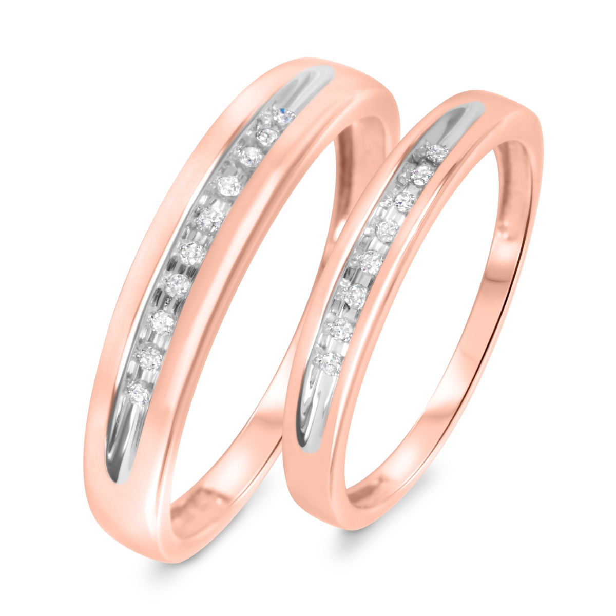 1/10 Carat T.W. Diamond His And Hers Wedding Rings 10K Rose Gold