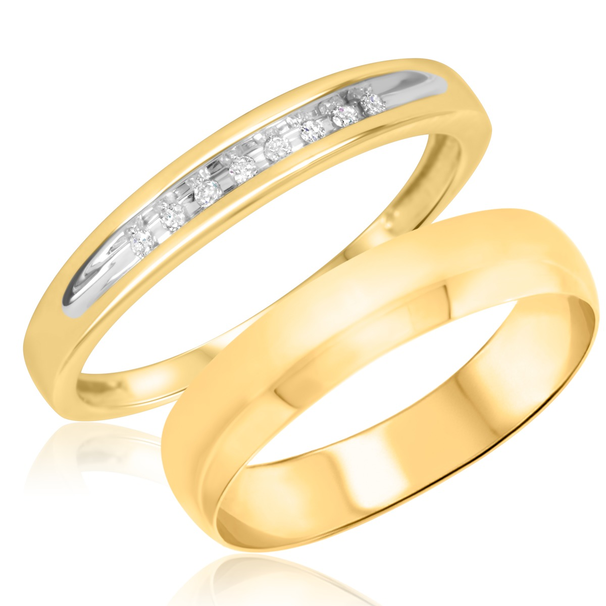 1/20 Carat T.W. Round Cut Diamond His and Hers Wedding Band Set 10K Yellow Gold
