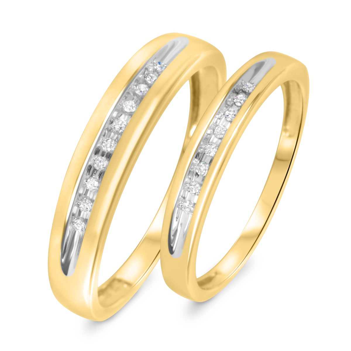 1/10 Carat T.W. Diamond His And Hers Wedding Rings 10K Yellow Gold