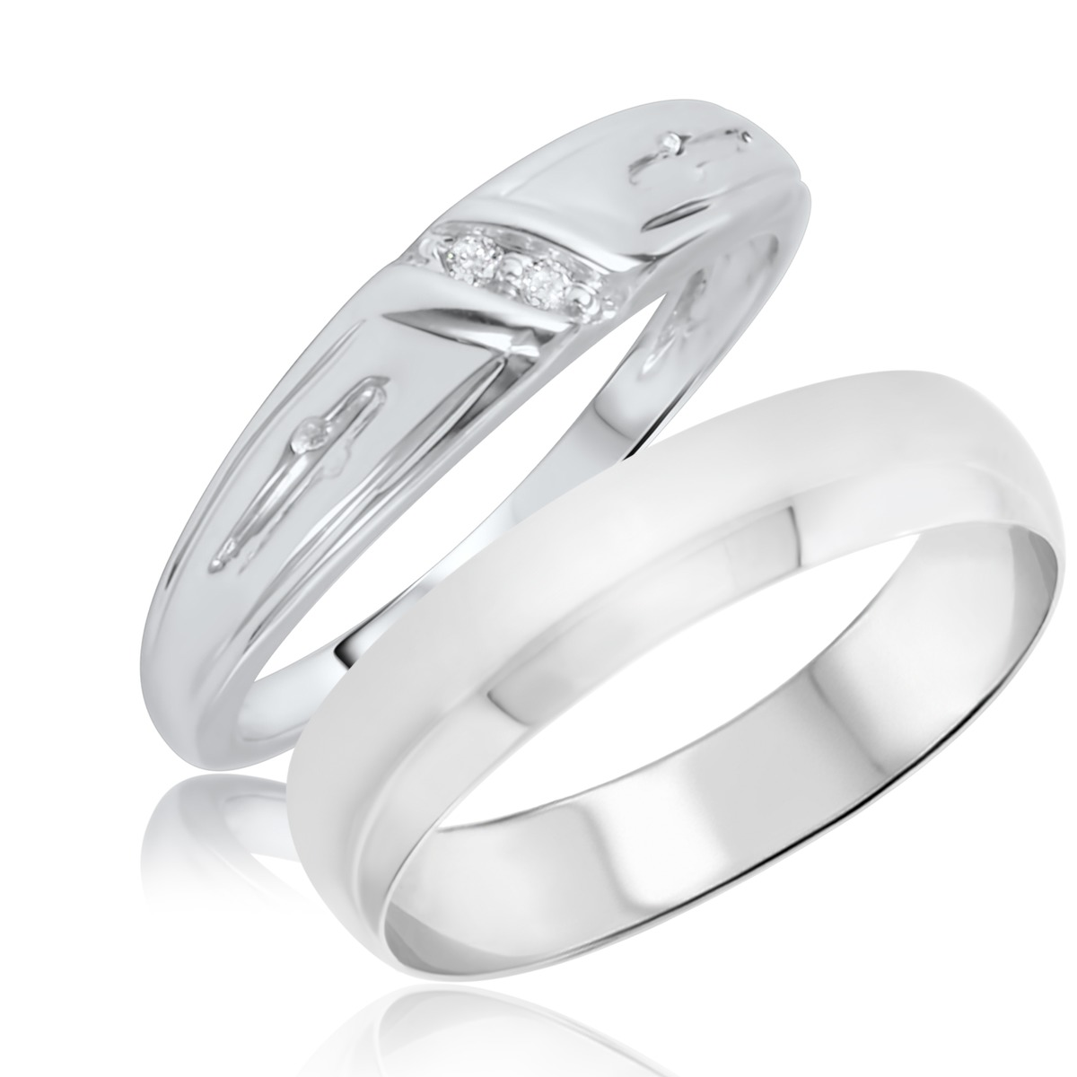 1/25 Carat T.W. Round Cut Diamond His and Hers Wedding Band Set 10K White Gold