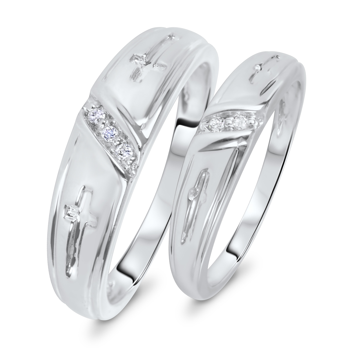 1/20 Carat T.W. Diamond His And Hers Wedding Band Set 10K White Gold