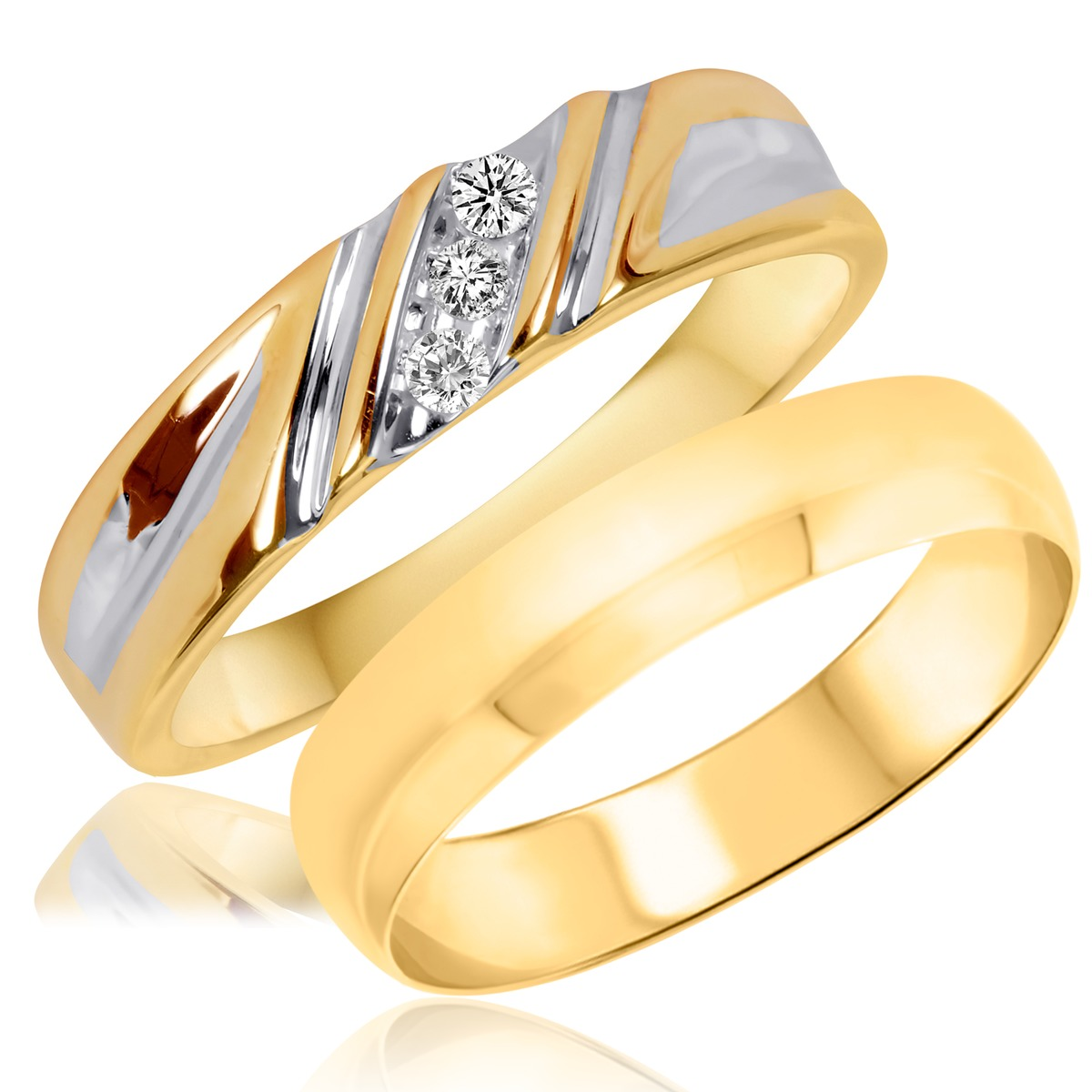 1/15 Carat T.W. Round Cut Diamond His and Hers Wedding Band Set 10K Yellow Gold