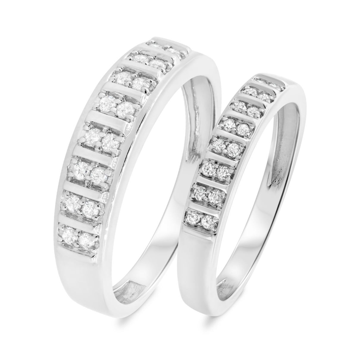 3/8 CT. T.W. Diamond His And Hers Wedding Band Set 10K White Gold