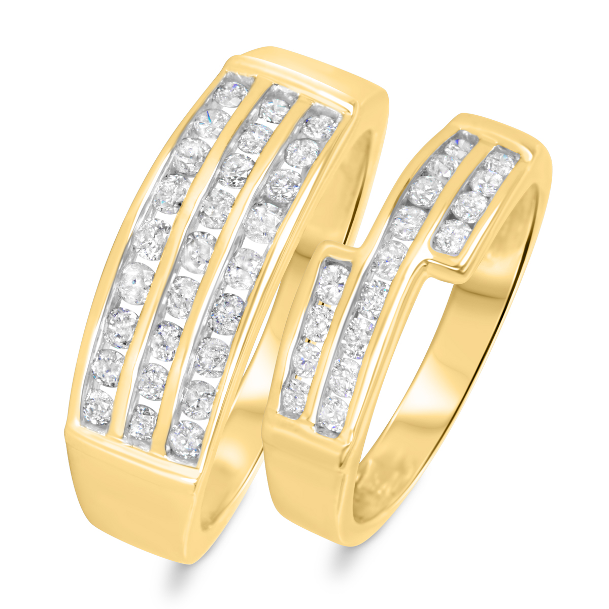 1 1/8 CT. T.W. Diamond His And Hers Wedding Band Set 14K Yellow Gold