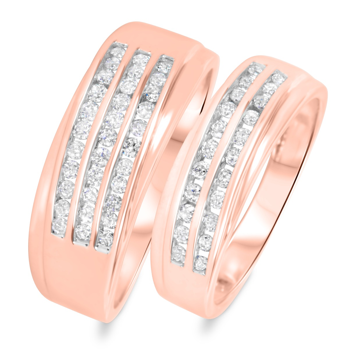 3/4 CT. T.W. Diamond His And Hers Wedding Band Set 10K Rose Gold