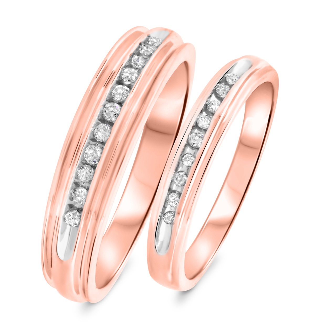 1/3 CT. T.W. Diamond His And Hers Wedding Band Set 14K Rose Gold