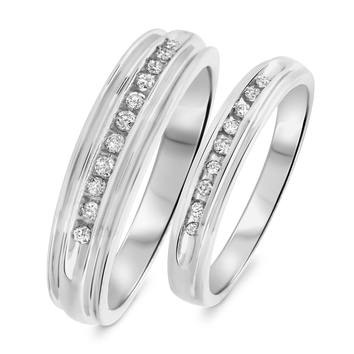 1/3 CT. T.W. Diamond His And Hers Wedding Band Set 14K White Gold
