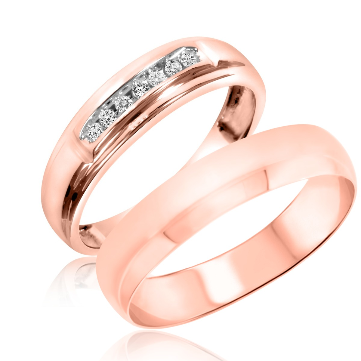 1/20 Carat T.W. Round Cut Diamond His and Hers Wedding Band Set 10K Rose Gold