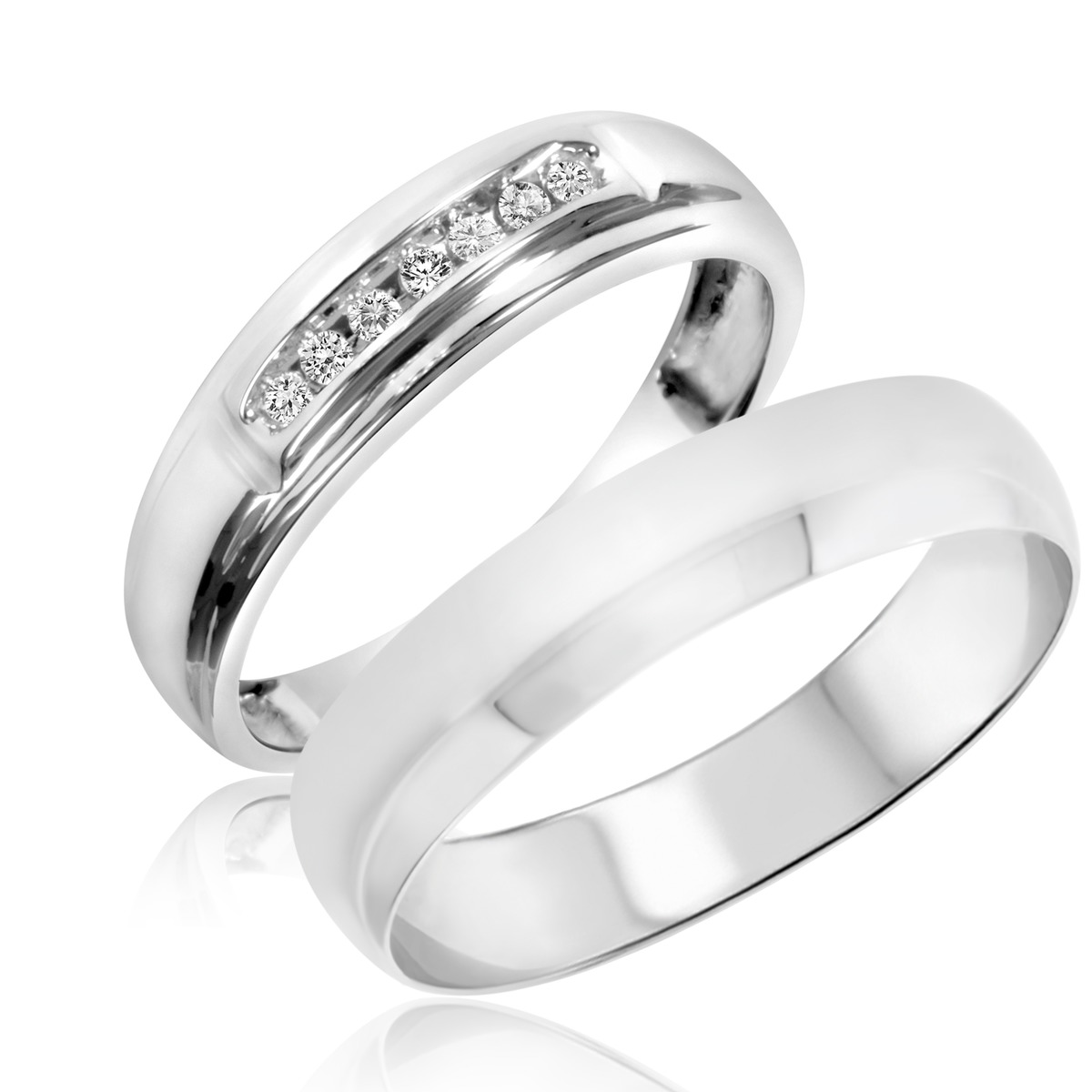 1/20 Carat T.W. Round Cut Diamond His and Hers Wedding Band Set 10K White Gold