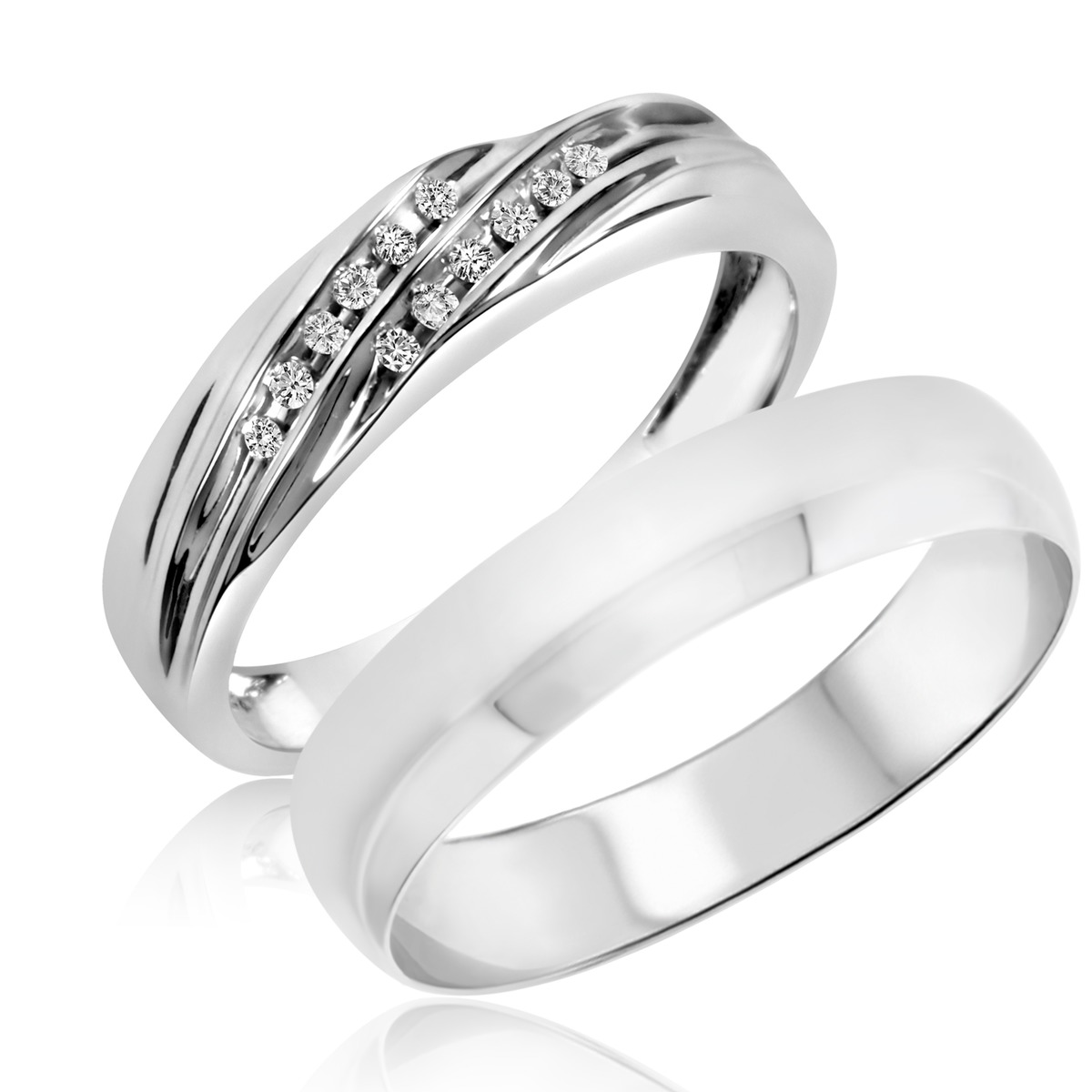 1/15 Carat T.W. Round Cut Diamond His and Hers Wedding Band Set 14K White Gold