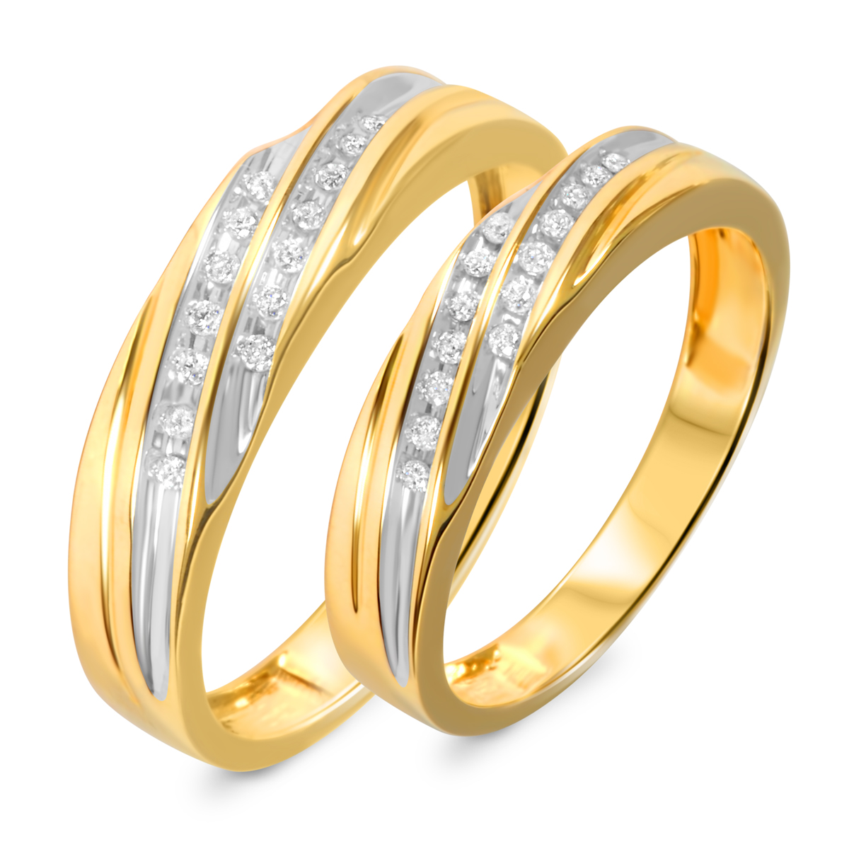 1/7 Carat T.W. Diamond His And Hers Wedding Band Set 10K Yellow Gold