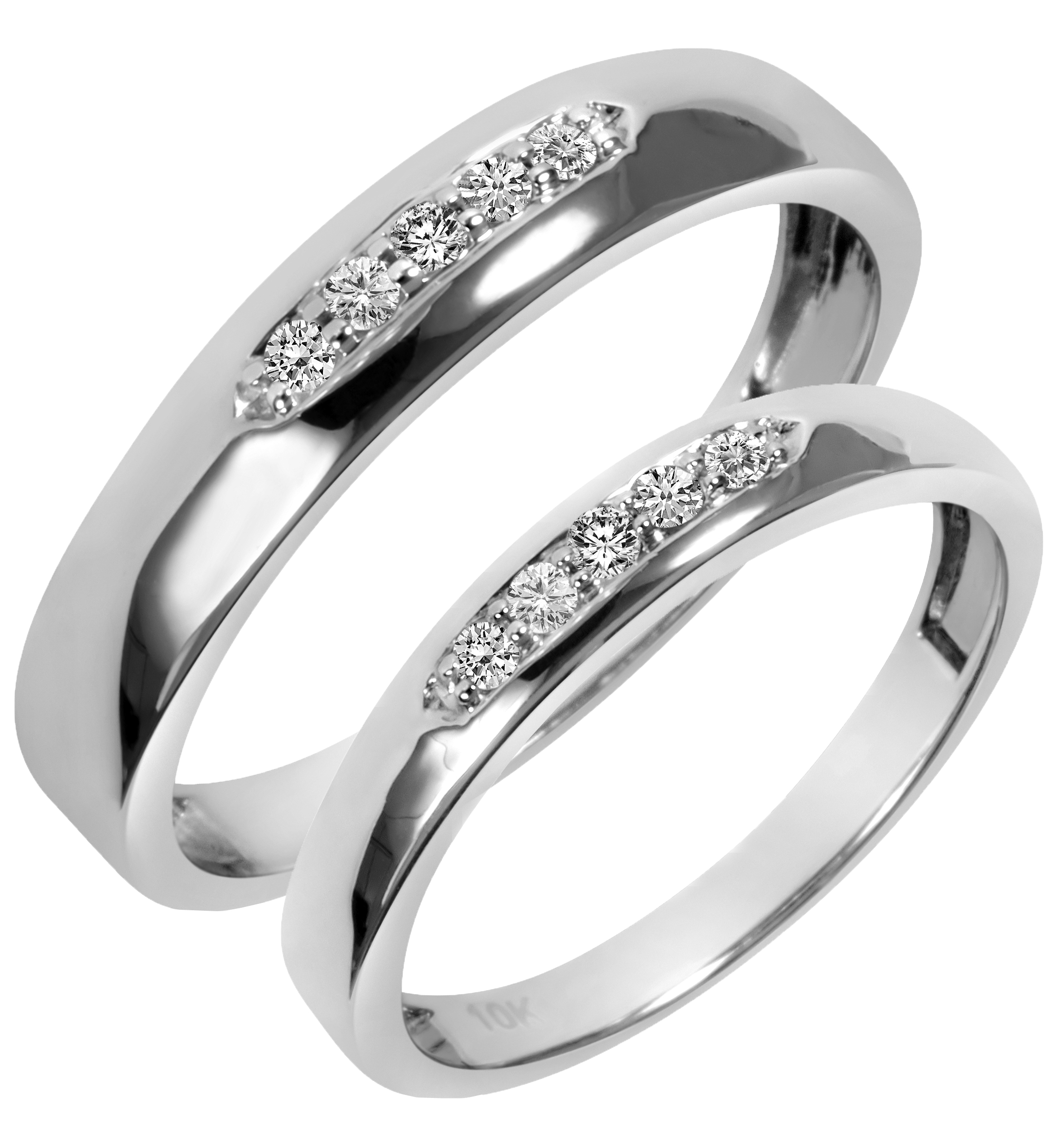 1/5 Carat T.W. Diamond His And Hers Wedding Band Set 10K White Gold