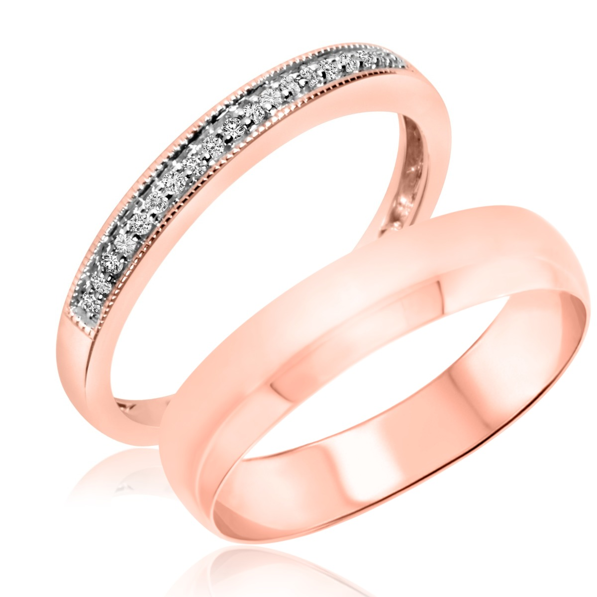 1/10 Carat T.W. Round Cut Diamond His and Hers Wedding Band Set 10K Rose Gold