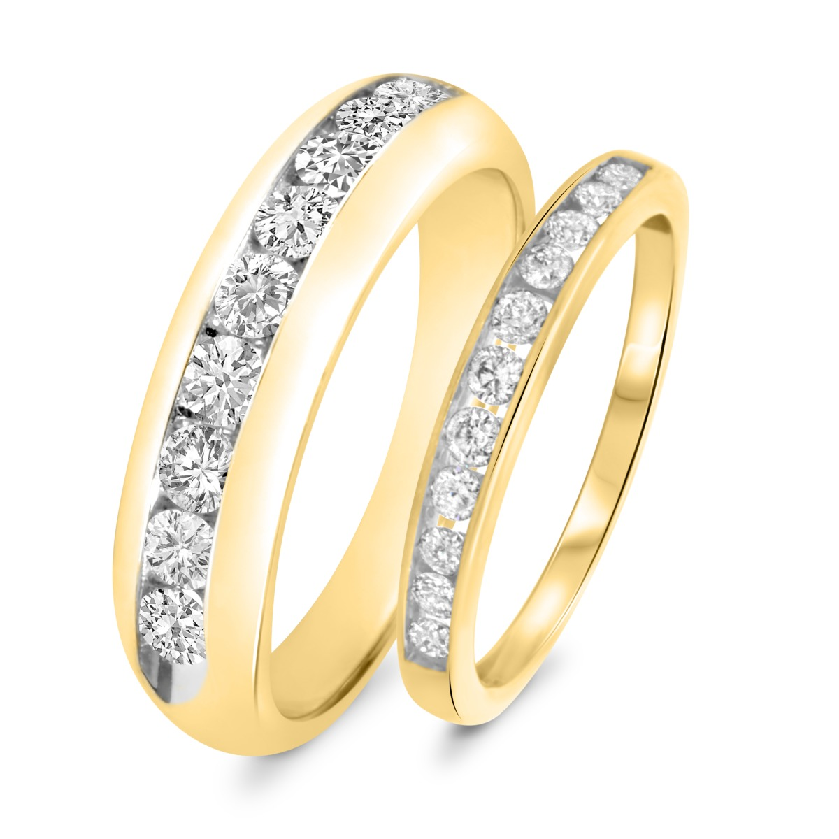 1 1/4 Carat T.W. Diamond His And Hers Wedding Band Set 14K Yellow Gold