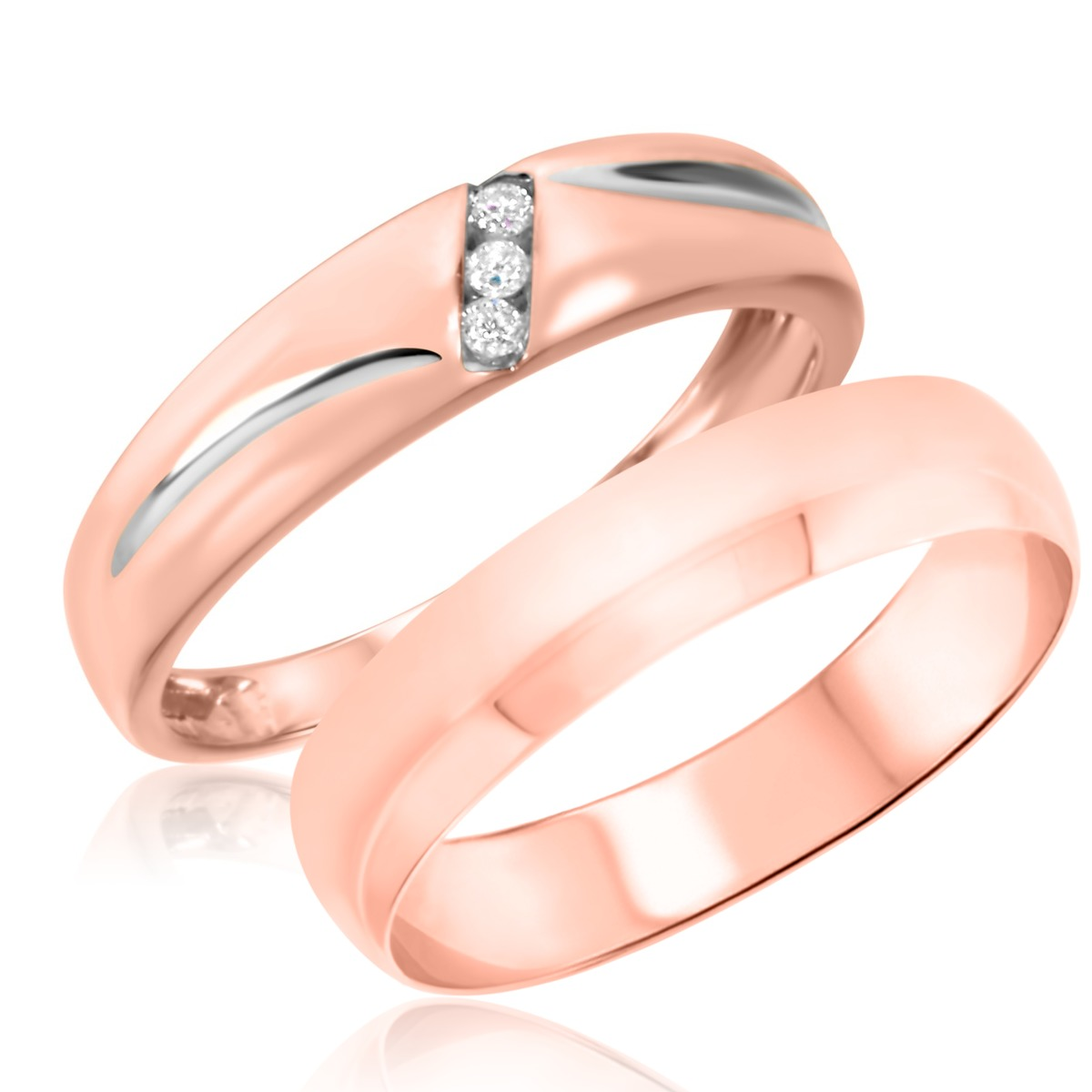 1/25 Carat T.W. Round Cut Diamond His and Hers Wedding Band Set 10K Rose Gold