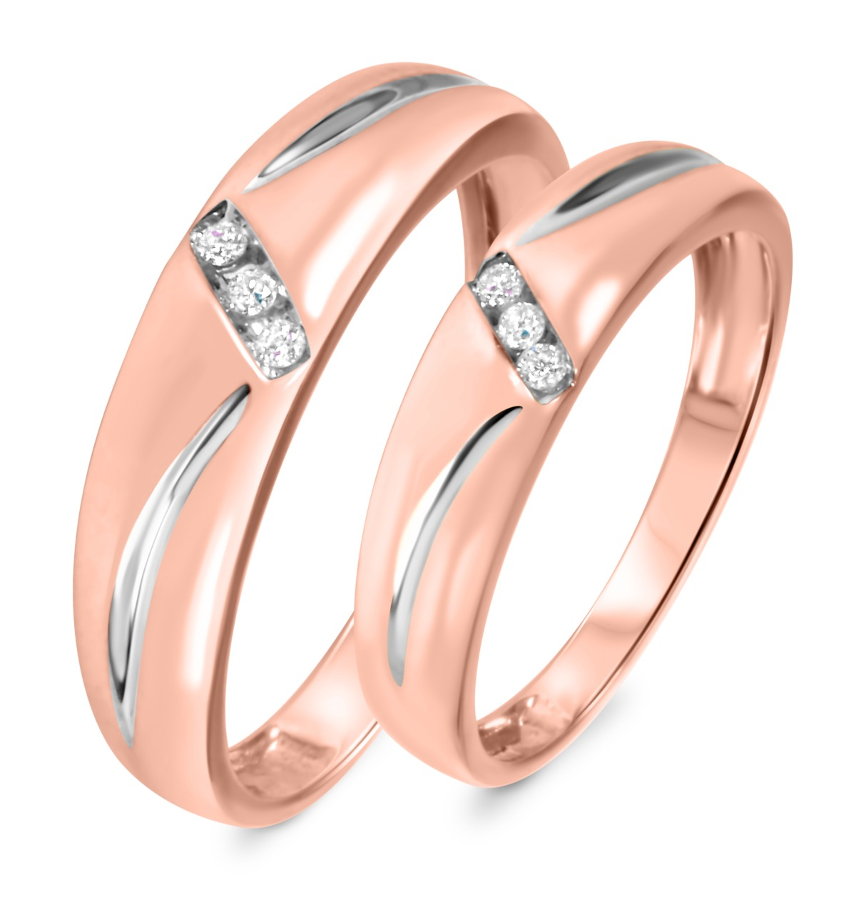 1/10 Carat T.W. Diamond His And Hers Wedding Band Set 10K Rose Gold
