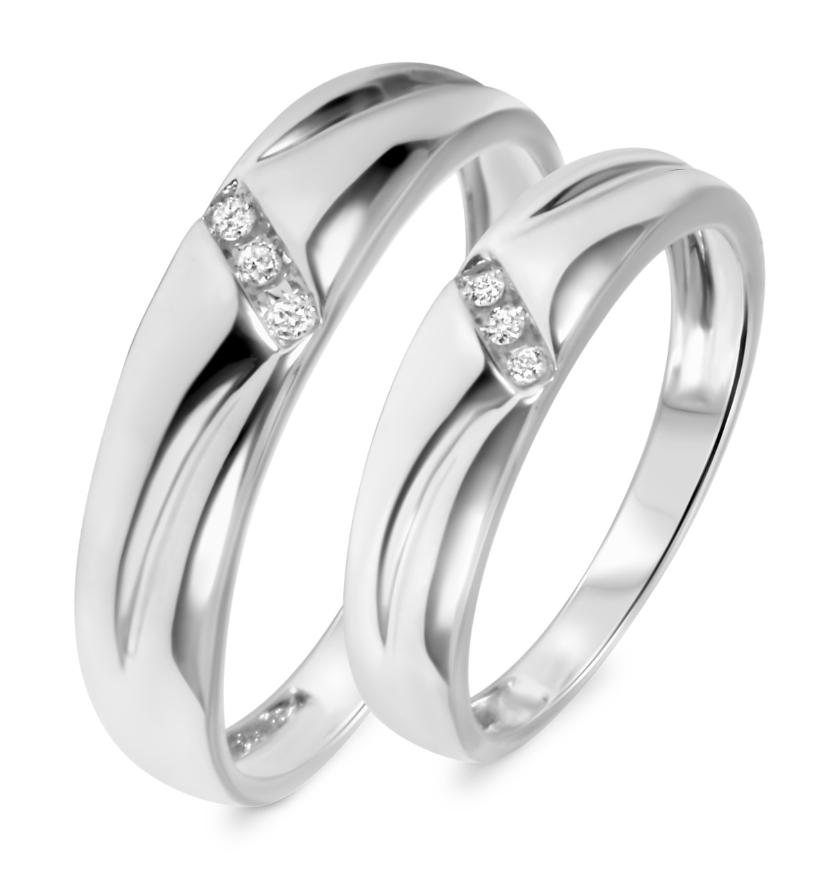1/10 Carat T.W. Diamond His And Hers Wedding Band Set 10K White Gold