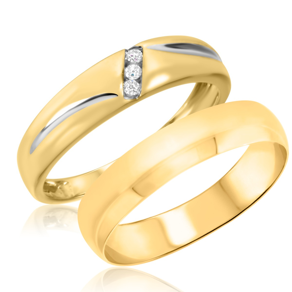 1/25 Carat T.W. Round Cut Diamond His and Hers Wedding Band Set 10K Yellow Gold