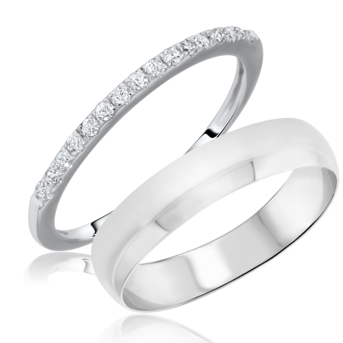 1/6 Carat T.W. Round Cut Diamond His and Hers Wedding Band Set 10K White Gold