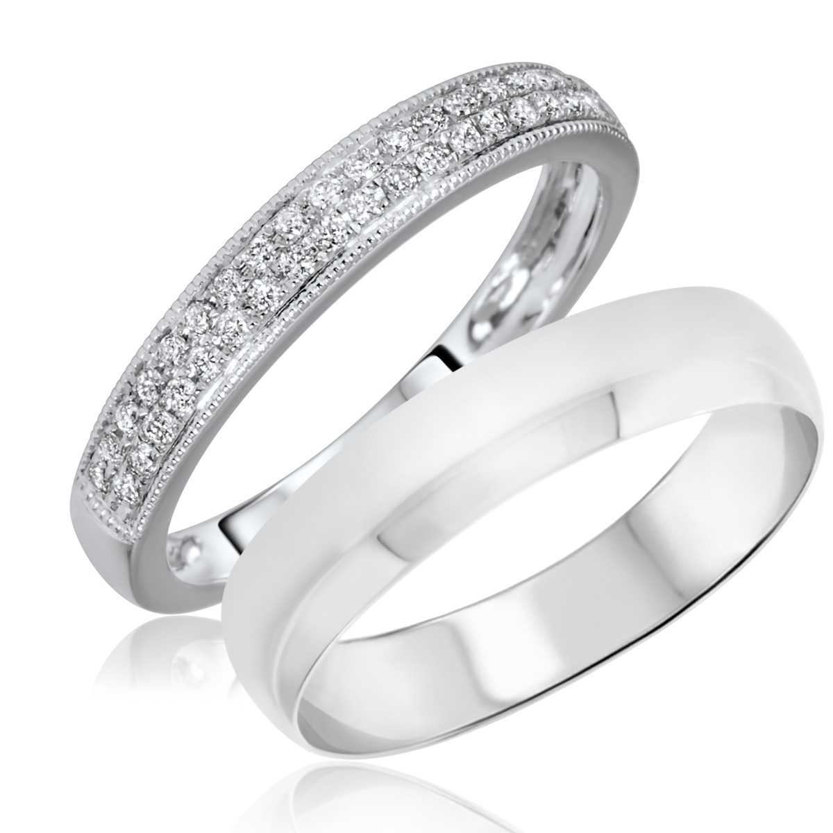 1/4 Carat T.W. Round Cut Diamond His and Hers Wedding Band Set 14K White Gold