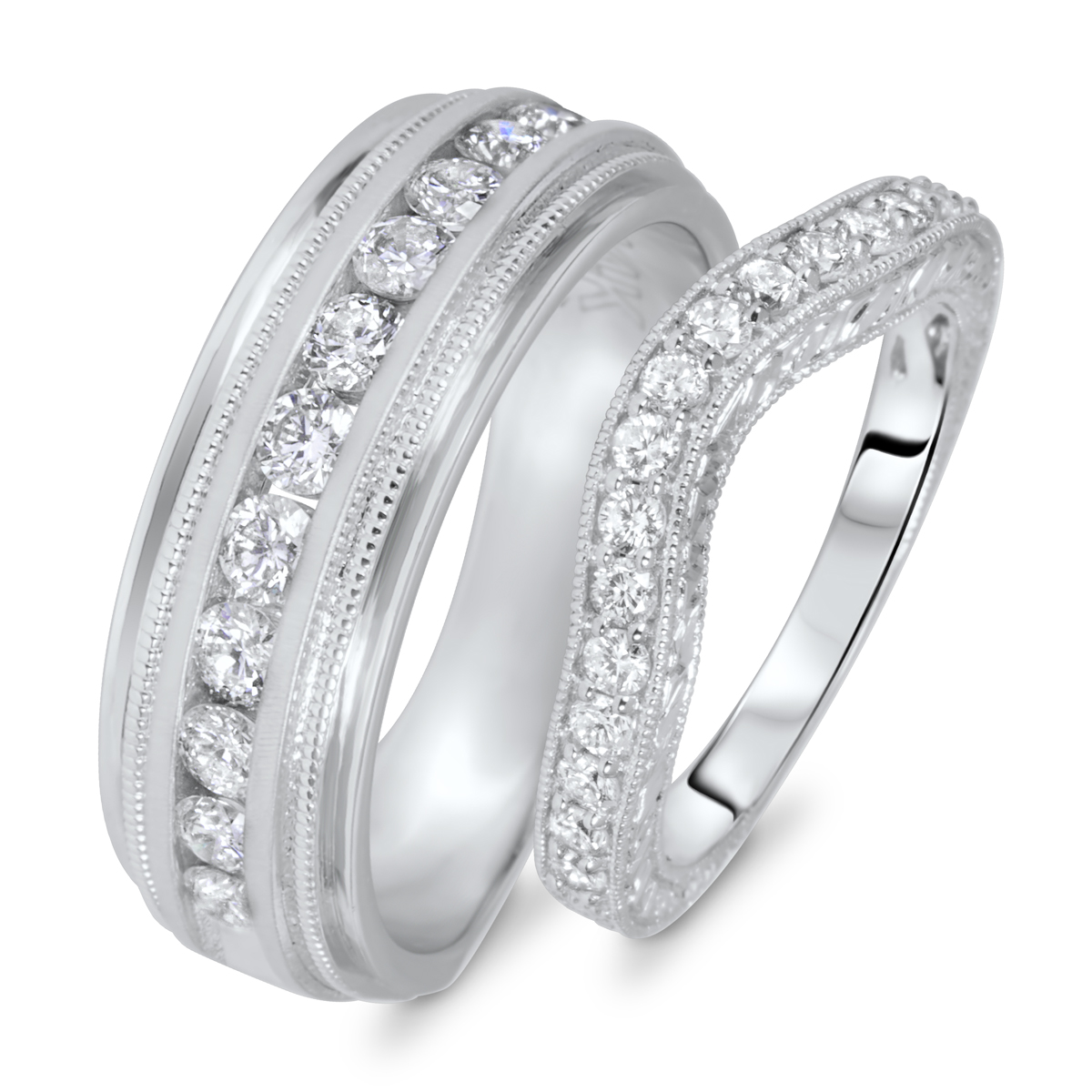 1 Carat T.W. Round Cut Diamond His And Hers Wedding Band Set 10K White Gold