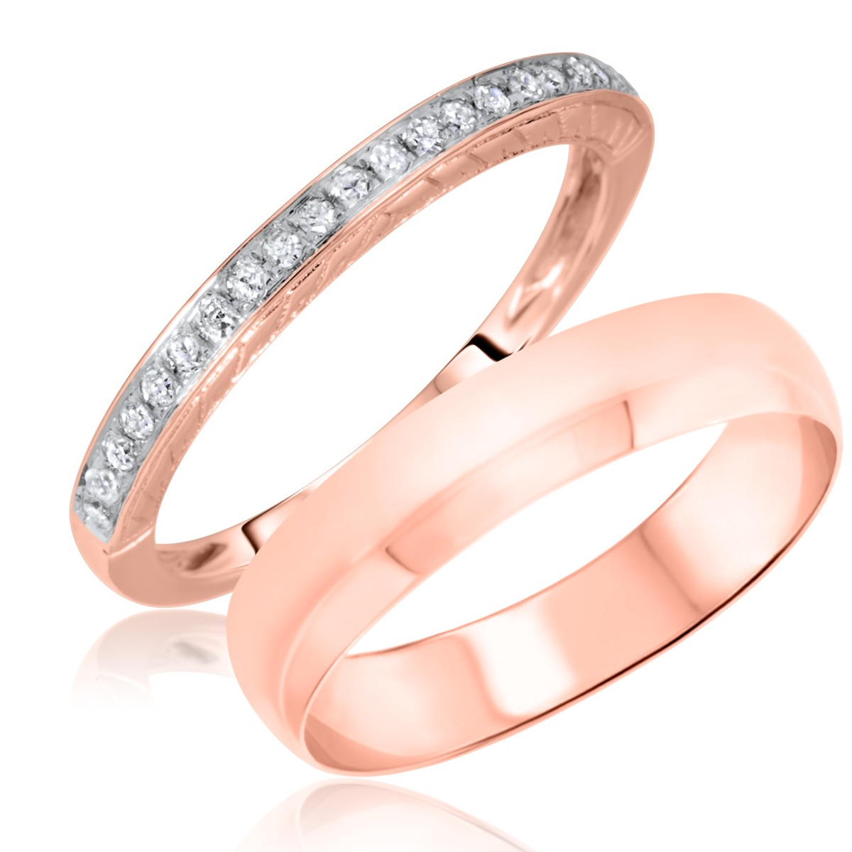 1/8 Carat T.W. Round Cut Diamond His and Hers Wedding Band Set 14K Rose Gold