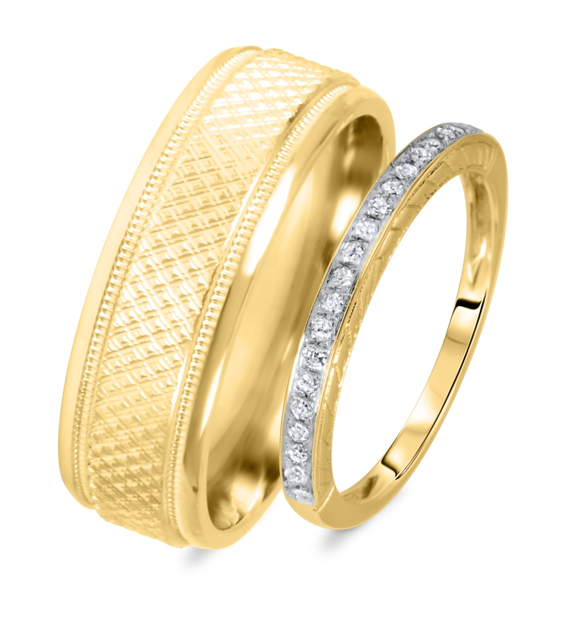 1/8 Carat T.W. Rounds Cut Diamond His And Hers Wedding Band Set 14K Yellow Gold