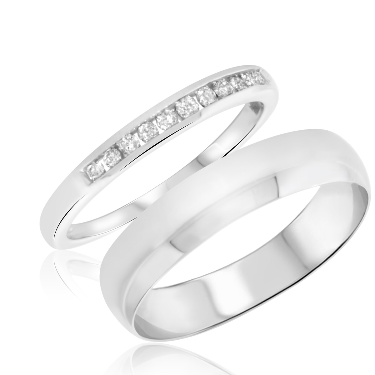 1/7 Carat T.W. Round Cut Diamond His and Hers Wedding Band Set 10K White Gold